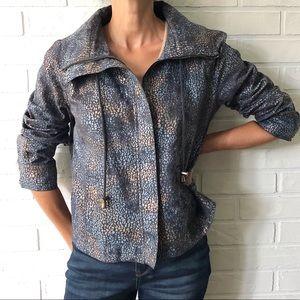 Boxy navy metallic animal print linen jacket 10